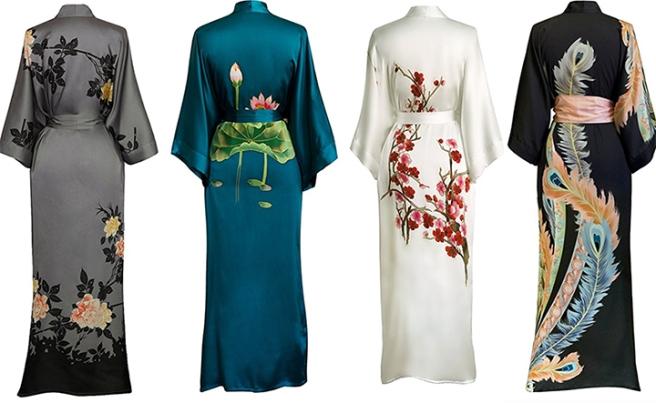 old_shanghai_silk_kimono_long_robe_handpainted_floral_back