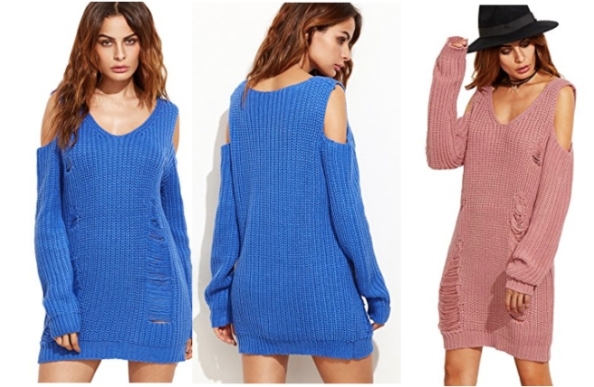 unraveled_cold_shoulder_sweater_dress_blue_pink