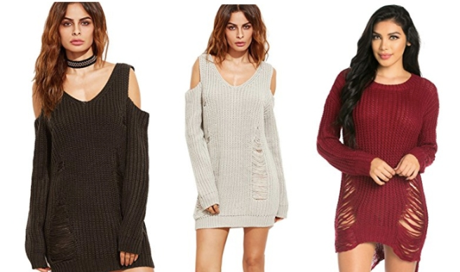 unraveled_distressed_sweater_cold_shoulder_dress_jumper