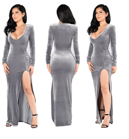 grey_velvet_v_neck_side_slit_long_sleeve_sexy_dress