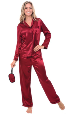 long_satin_button_down_pajama_set