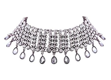 silver_rhinestone_pendant_choker_necklace