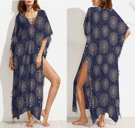 5ede7ebb46250 The Blue Print Swimsuit Cover Up with Colorful Pom-Poms makes quite the  dramatic statement, perfect for the beach & the pom-poms are quite the  playful ...